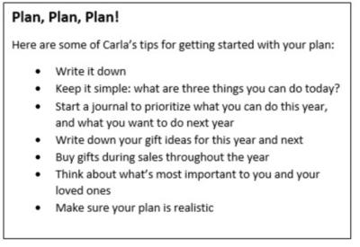 Plan, Plan, Plan!