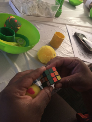 D'Ambra Baker, Behavioral Health Consultant-Outreach, was on hand to explain how seeing through different colored lenses can stimulate different types of energy